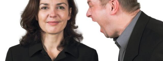 Woman calm, man yelling